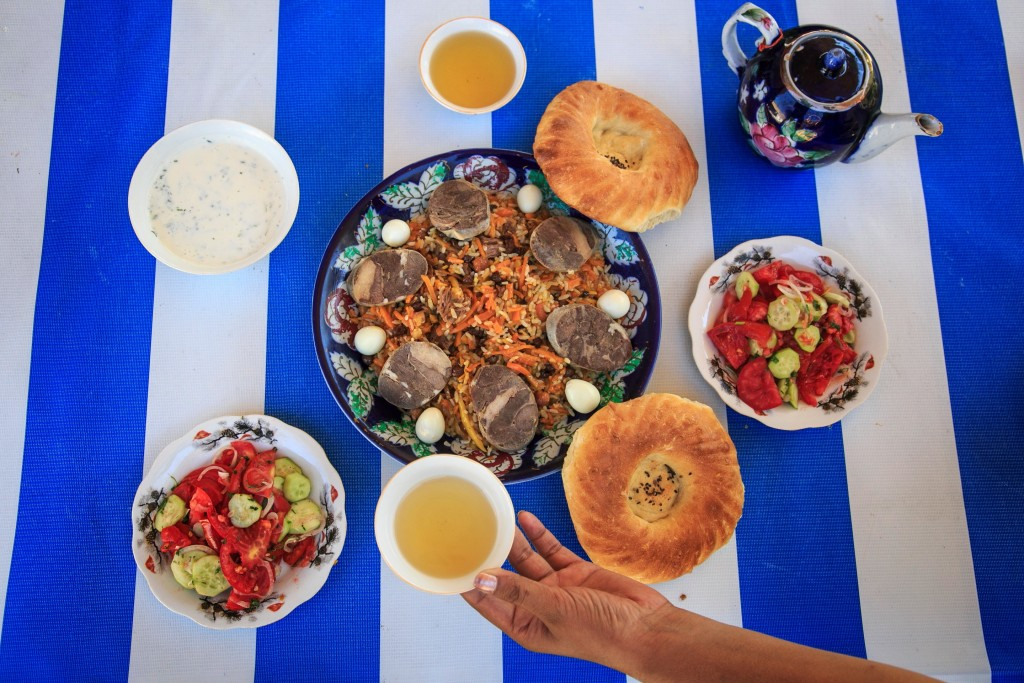 A Plate of Plov topped with horse sausage