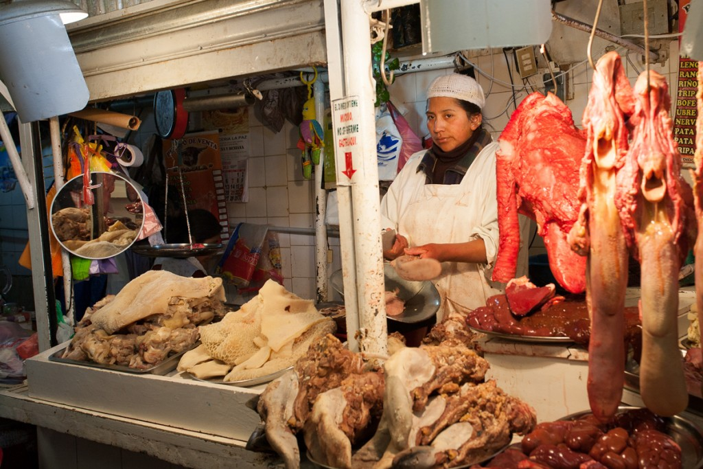 A Meat Market in La Paz, Bolivia