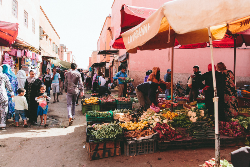The vegetable market in Marrakech, Morocco