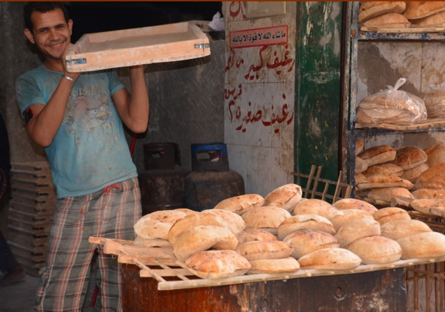 Pita Bread in Cairo, Egypt